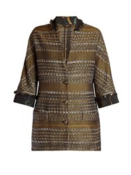 Etro Contrast Collar And Cuff Tweed Coat Black Multi