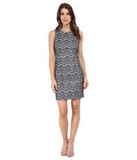 Jessica Simpson Lace Sheath Dress Navy Ivory Women's Dress Blue