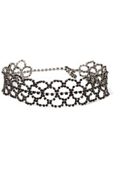 Kenneth Jay Lane Gunmetal Plated Crystal Choker One Size
