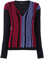 Versace Frayed Stripe V Neck Jumper Black