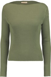 Tory Burch Ribbed Cotton Blend Sweater Army Green