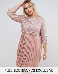 Little Mistress Plus Premium Lace Overlay Midi Dress With Pleated Skirt Apricot Pink