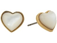 Tory Burch Amore Heart Stud Earrings Ivory Tory Gold