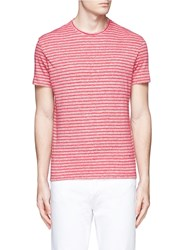 Isaia Stripe Linen Cotton T Shirt Red