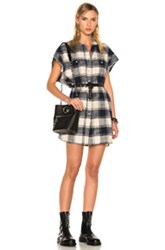 R 13 R13 For Fwrd Exclusive Cut Off Sleeve Shirt Dress In Blue Checkered And Plaide Neutrals Blue Checkered And Plaide Neutrals