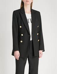 Moandco. Double Breasted Wool Blend Blazer Black