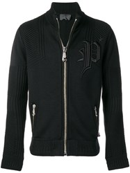 Philipp Plein Logo Embroidered Knitted Track Jacket Black