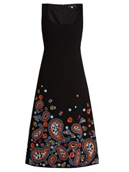 Andrew Gn Embellished Sleeveless Wool Blend Crepe Dress Black Multi
