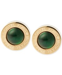Michael Kors Colored Imitation Mother Of Pearl Bezel Set Earrings Green Gold