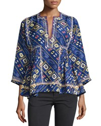 Isabel Marant Embroidered Silk Tunic Top Blue