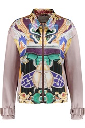 Mary Katrantzou Printed Cotton And Silk Blend Bomber Jacket Purple