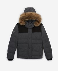 The Kooples Grey Nylon Down Jacket With Hood And Fur Trim