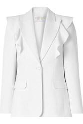 Michael Kors Collection Ruffled Crepe Blazer White