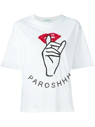 P.A.R.O.S.H. Sequinned Lips T Shirt White