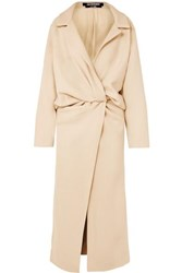 Jacquemus Vaal Twist Front Canvas Coat Beige
