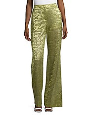Akris Textured Flared Pants Green