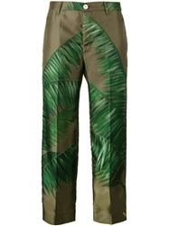 F.R.S For Restless Sleepers Tropical Palm Print Trousers Green