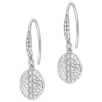 Dower And Hall Lumiere Sterling Silver Geo Sapphire Drop Earrings Silver White