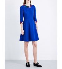 Mary Katrantzou Flower Applique Wool Crepe Dress Electric Blue