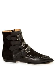Isabel Marant Rowi Leather And Suede Ankle Boots Black