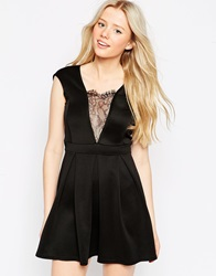 Girls On Film Dress With Lace Insert Black
