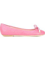Moschino Stitched Logo Ballerinas Pink And Purple