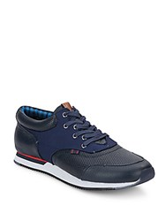 Ben Sherman Henderson Perforated Leather Sneakers Navy