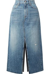 Rag And Bone Clyde Distressed Denim Midi Skirt Mid Denim