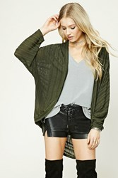 Forever 21 Ribbed Knit Cocoon Cardigan Olive Black