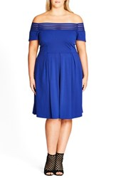 City Chic Plus Size Women's Shadow Stripe Off The Shoulder Dress Cobalt