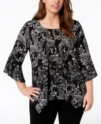 Ny Collection Plus Size Printed Layered Look Top Nomad Paisflora