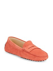 Tod's Gommini Round Toe Penny Loafers Dark Red