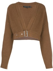 Sally Lapointe Cropped Knitted Top Brown