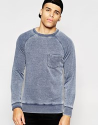 Another Influence Burn Out Crew Neck Jumper Blue