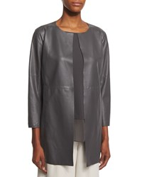 Eileen Fisher Fisher Project Draped Lightweight Leather Jacket Bark Brown