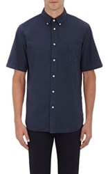 Rag And Bone Men's Poplin Short Sleeve Shirt Navy