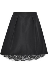 Carolina Herrera Pleated Silk Faille Skirt Black
