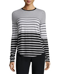 Vince Engineered Stripe Long Sleeve Shirt Men's Size Xx Small Off White Black