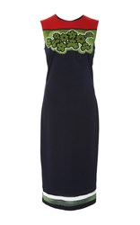 Tomas Maier Sleeveless Sheath Floral Color Block Dress Multi