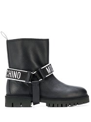 Moschino Logo Strap Boots Black