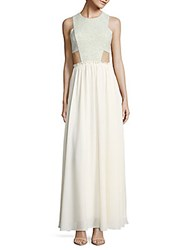 Prose And Poetry Genevieve Side Cutout Gown Green Ivory