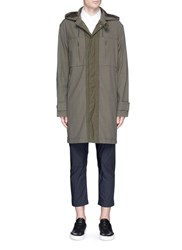 Covert Detachable Hood Long Parka Green