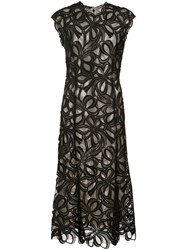 Monique Lhuillier Guipure Lace Ribbon Dress Nylon Polyester Black