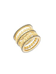 Freida Rothman Contemporary Deco Cubic Zirconia And Sterling Silver Five Stack Eternity Ring Set No Color