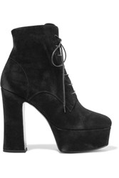 Saint Laurent Candy Suede Platform Ankle Boots Black