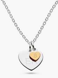 Kit Heath Personalised Girls Double Heart Pendant Necklace Silver Gold