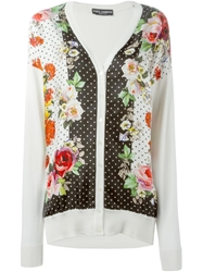 Dolce And Gabbana Floral Polka Dot Print Cardigan White