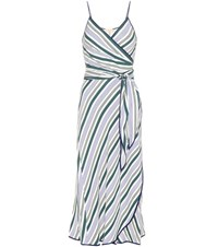 Tory Burch Villa Striped Wrap Dress Multicoloured
