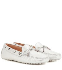 Tod's Gommini Metallic Leather Loafers Silver
