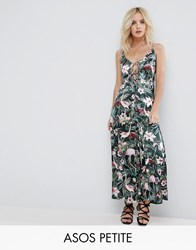 Asos Petite Cami Satin Jumpsuit With Lace Up Front In Floral Print Multi